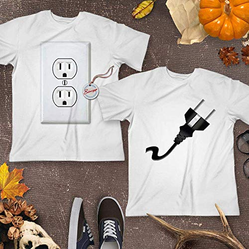 Electrical Power Outlet & Plug Halloween Couple Pajamas Shirt Matching Husband Wife Boyfriend Girlfriend Costume Customized Handmade Hoodie/Sweater/Long Sleeve/Tank Top/Premium T-shirt -