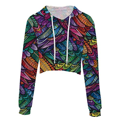 color Size Lunga Hoodies Slim Felpa Cappuccio Casual Eleganti Felpe Con Coulisse Top Style 6 Xl Donna Floreali Weimilon Manica Crop Autunno Fit vqXRTww