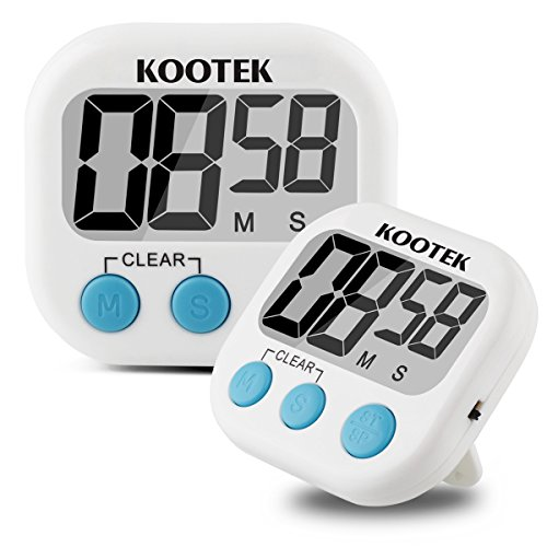 Kootek Digital Kitchen Timer 2 Pack Cooking Timer Clock with Loud Alarm Magnetic Back and Retractable Stand, Minute