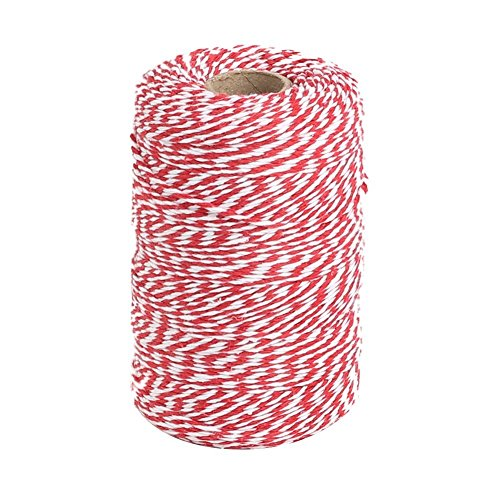(Vivifying Red and White Bakers Twine, 656 Feet Cotton String for DIY Crafts, Christmas Gift Wrapping )
