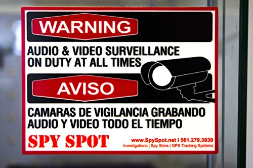 6 Pack Decal Self Adhesive Audio & Video Sign Vinyl Weatherproof Resistant CCTV Surveillance Stickers English/Spanish Security Logo from Spy Spot
