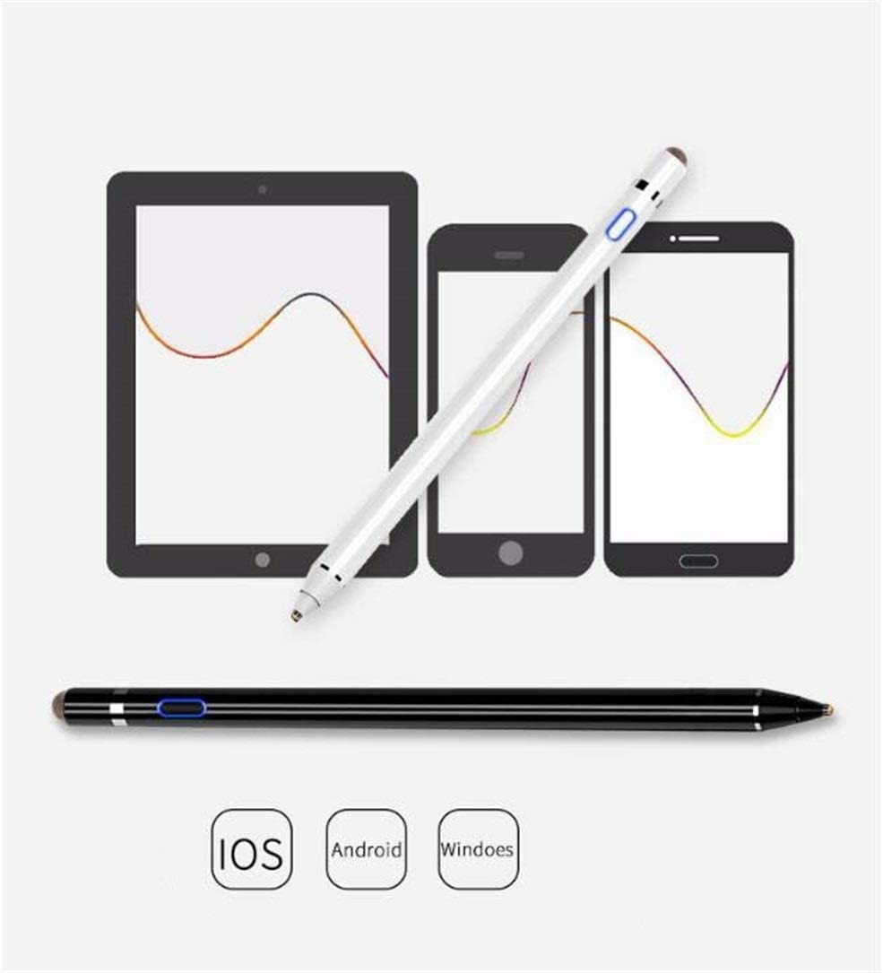 Color : White Double-Head Rechargeable Active Capacitive Pen Mobile Computer Tablet Touch Capacitor Handwritten Touch Screen Pen Advanced Stylus