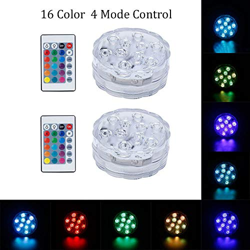 GLODD Submersible LED Remote Controlled Wireless LED Lights Lamps Decor Fish Tank, Garden Tub,Pond,Pool,Fountain,Waterfall,Aquarium, Fountain, for Party Halloween Christmas (2 Pack, 16 Color in ONE) -