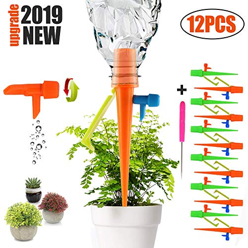 - Plant Self Watering Spikes System with Slow Release Control Valve Switch Self Irrigation Watering Drip Devices, Plant Waterer with Anti-Tilt Anti-Down Bracket, Suitable for Most Bottles(12 Pack)