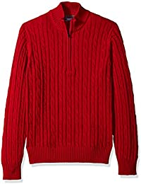 Men's Cable Solid 1/4 Zip Sweater
