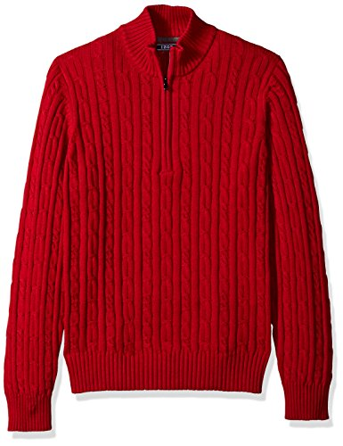 IZOD+Men%27s+Cable+Solid+1%2F4+Zip+Sweater%2C+Jester+Red%2C+Large