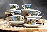 Nuova Point NPGEI Genova White Italian Cities 6-piece Espresso Cup & Saucer Set