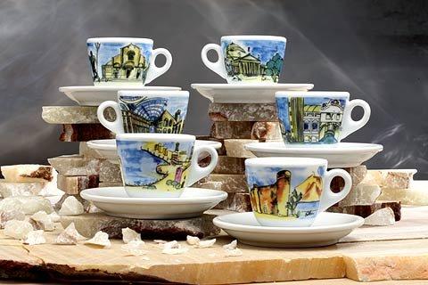 Nuova Point NPGEI Genova White Italian Cities 6-piece Espresso Cup & Saucer Set by Nuova Point