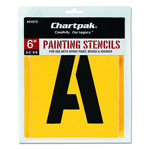 (Chartpak Letter and Number Painting Stencils, A-Z and 0-9, 6 Inches H, 35 per Pack)
