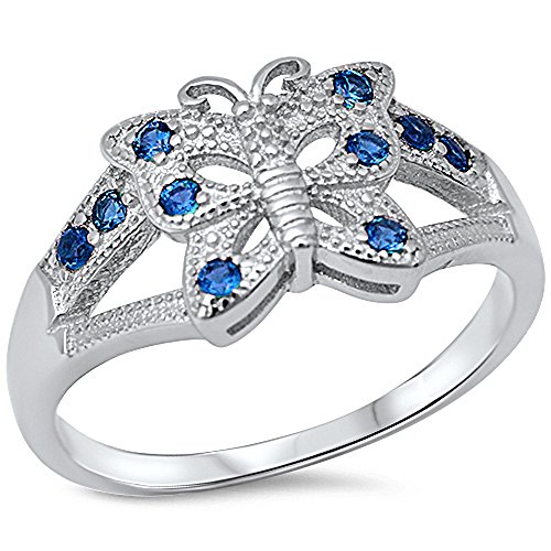 Blue Sapphire Butterfly Ring - Simulated Sapphire Butterfly .925 Sterling Silver Ring Size 9