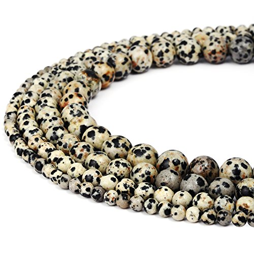 - RUBYCA Natural Dalmatian Jasper Gemstone Round Loose Beads for DIY Jewelry Making 1 Strand - 8mm
