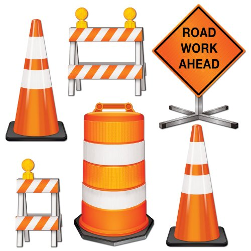 [Road Crew Cutouts (6/Pkg)] (Man Construction Worker Costume)