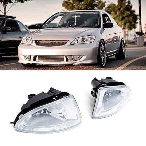 VioGi Fit 04-05 Honda Civic 2-Door Coupe/4-Door Sedan Clear Lens Fog Lights Kit w/ Bulbs+Switch+Wiring+Harness+Relay+Bracket+Necessary Mounting Hardware