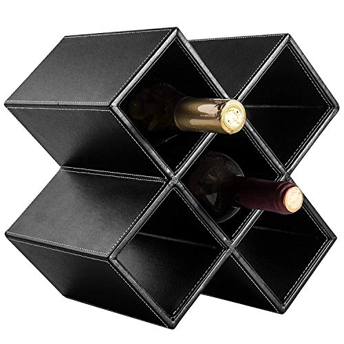 Rack X 5 Bottle Geometric Synthetic Leather Tabletop Wine Rack Black Bordeaux Large Holder Bars A Lather Table 144 Liquor Covered Unique Cabinets 6 Racks Geometrics Organizer Gears 11 6 Bottle