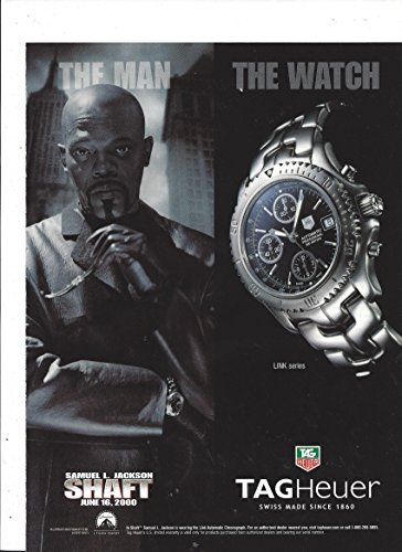 (PRINT AD With Samuel L Jackson As Shaft For 2000 Tag Heuer Link Series Wa.)