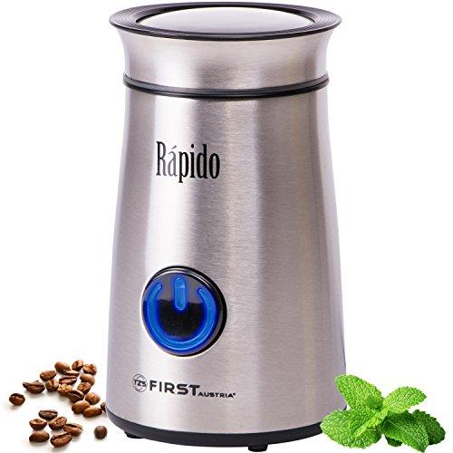 50g Edelstahl-Kaffeemühle mit blauem LED-Licht | 150 Watt | Fein bis Grob | Espresso geeignet | Elektrische Kaffeemühle für Kaffeebohnen | Zerkleinerer für Walnüsse oder getrocknete Kräuter