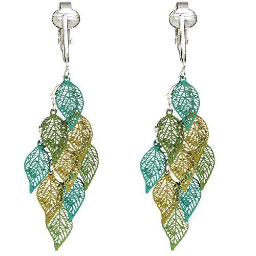 Beautiful Dangle Clip On Earrings for Women, Bohemian Drop Butterfly, Dragonfly, Leaves, Flowers (Green Leaves)