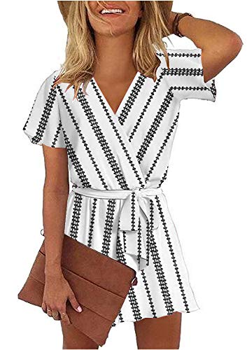 - ETCYY Women's Summer V Neck Argyle Striped Short Sleeve Short Jumpsuit Rompers with Belt White