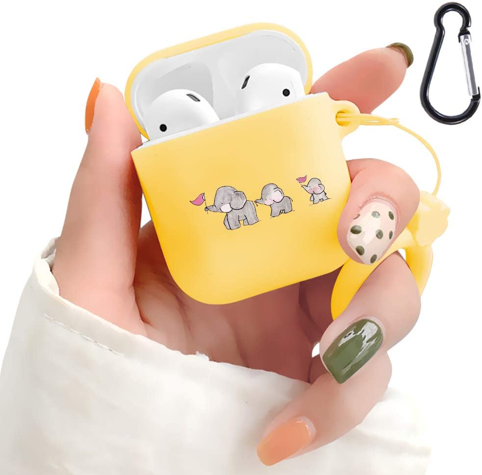 AirPods Case - LuGeKe 2019 Newest 360° Protective Silicone Elephant Family AirPod Case Cover Compatiable with Apple AirPods 1st/2nd(Support Wireless Charge,(Cute Elephant)