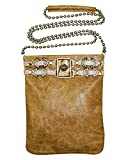 Crossbody Cell Phone Pouch with Stone Ornament and Lacing Details
