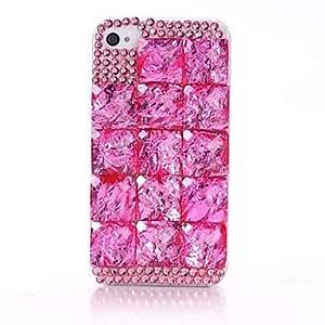 Conseguir DIY 3D Color Case Piedra Rhinestone cristal duro plástico para el iPhone 4/4S , Púrpula