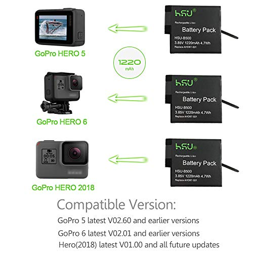 HSU Battery (3-Pack) and Triple Charger - for Gopro Hero 5, Hero 6 Black, and Hero 2018 (Compatible with The Latest firmware)