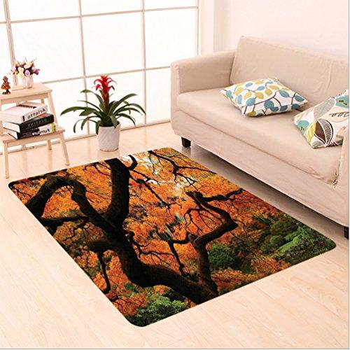 Nalahome Custom carpet vid Japanese Maple Trees Deep Dark in the Forest Quite Meditative Environment Photo Orange Brown area rugs for Living Dining Room Bedroom Hallway Office Carpet (Vid Runner)