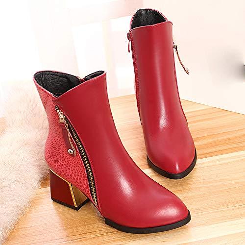 Bottines Vintage Sanfahion Boho Mode Chic Bottes Rouge Martin Femme Lacets Chaussures À Casual PTrSdT