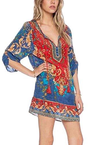 African Dress Jaycargogo 1 Bohemian Print Women Shift Loose Style Ribbon Summer Ethnic rvvwqt1