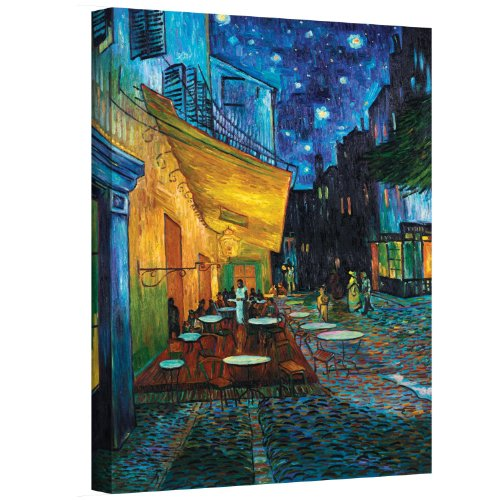 ArtWall Cafe Terrace at Night by Vincent Van Gogh Gallery Wrapped Canvas Art, 24 by 32-Inch