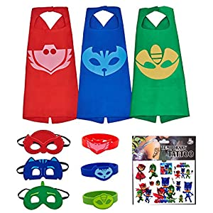MIJOYEE Superhero Costumes Catboy Owlette Gekko Mask Cape Bracelet Tattoo Sticker