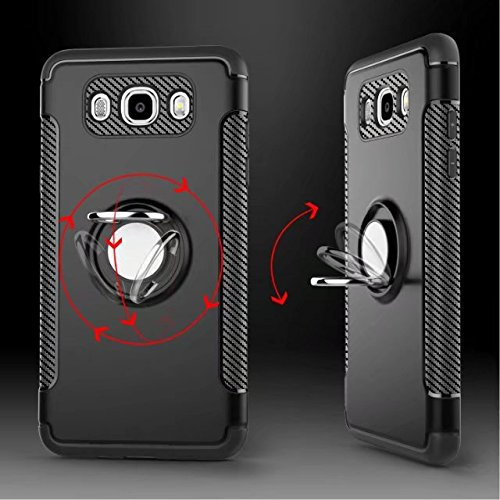 YHUISEN Galaxy J5 2016 Case, Armor Dual Layer 2 en 1 resistente a prueba de golpes caso de protección con 360 grados giratorio titular del anillo de dedo y el caso del titular del coche del imán para  Rose Gold
