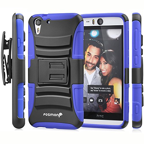 Price comparison product image HTC Desire EYE Holster Case, Fosmon STURDY [Locking Swivel Belt Clip | Kickstand] Rugged Heavy Duty Shock Proof Case for HTC Desire EYE (Black/Blue)