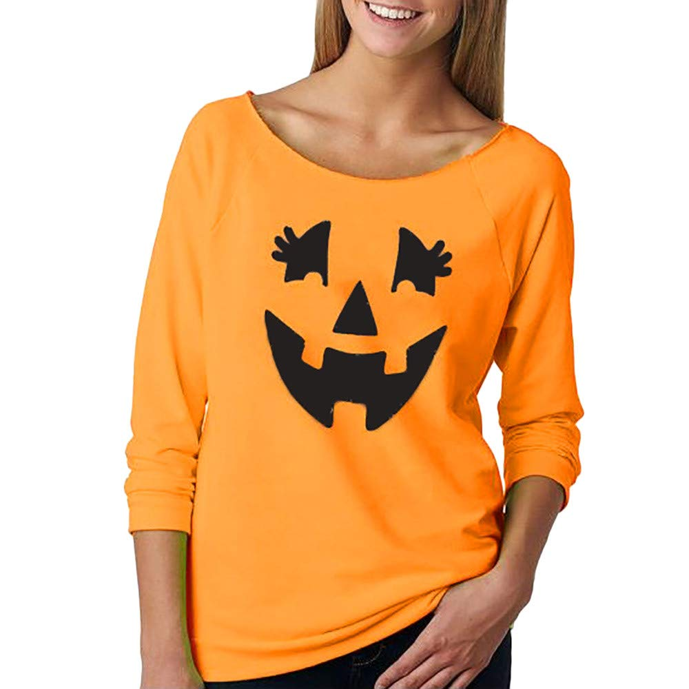 Theshy Women Casual Long Sleeve Halloween Pumpkin Print T-Shirt Hooded Sweatshirt