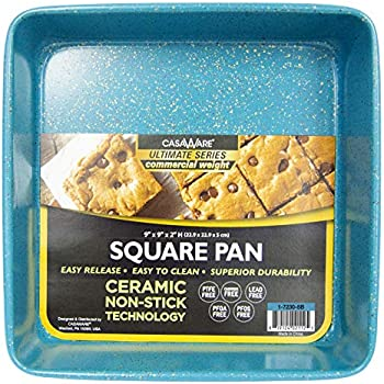 casaWare Ceramic Coated NonStick Heavy Weight 9-inch Square Cake Pan (Blue Granite)