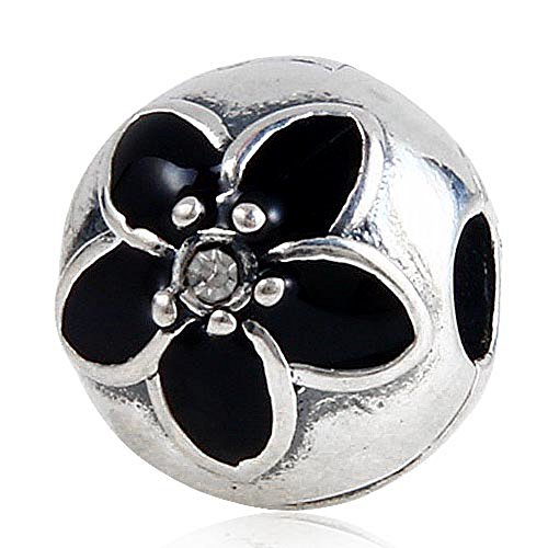 Black Enamel Mystic Floral Charm with Clear Crystal 100% 925 Sterling Silver Clip Charm Bead for European Style Bracelet