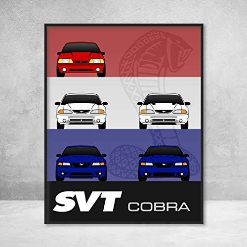 Ford Mustang SVT Cobra Generations History and Evolution Poster Print Wall Art Decor Handmade