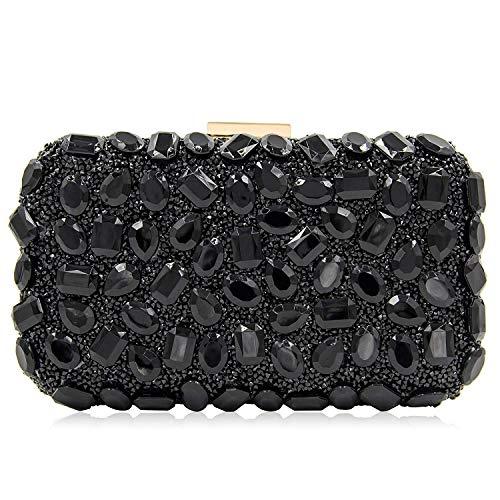 Stunning Rhinestone Party Clutches Cocktail Crossbody Evening Bags For Women Clutch Purse Handbag (Black)