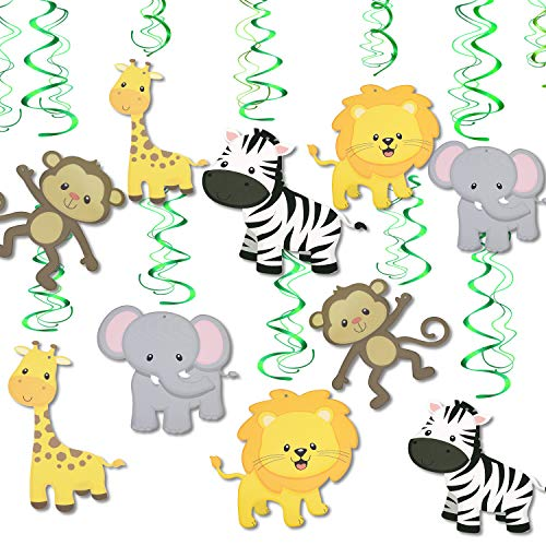 Hanging Decorations For Baby Shower (Konsait Jungle Animal Hanging Swirl Decoration(30Pack), Safari Theme Zoo Swirls Animals Birthday Party Spirals Home Ceiling Wall Decor for Woodland Farm Baby Shower Favor Supplies)