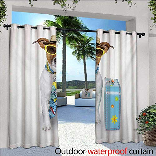 homehot Dog Fashions Drape Traveler Funny Dog Dressed as a Tourist with Hat Glasses Necktie and a Floral Suitcase Outdoor Curtain Waterproof Rustproof Grommet Drape W72 x L108 Multicolor
