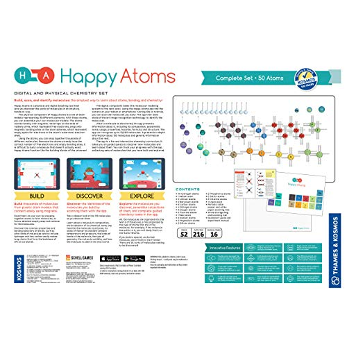 Happy Atoms Magnetic Molecular Modeling Complete Set | 50 Atoms | Create 17, 593 Molecules | 216 Activities | Free Educational App iOS, Android, Kindle | Student & Teacher Tested | KAPi Award Winner