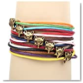 Winter's Secret Bronze Fox Pattern Hand Braided Diy Color Wax Rope Ancient Wrap Bracelet