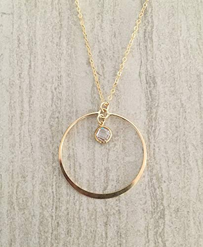 Classic White CZ Gold-Filled Circle Pendant Necklace