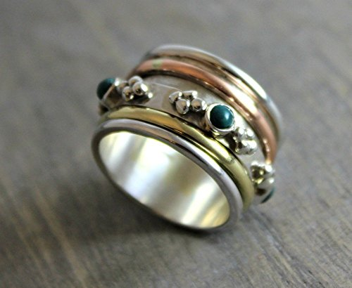 Sterling Silver (925) Turquoise Brass Copper Bohemian Spinning Fidget Ring, Size 8