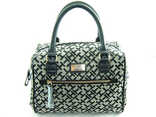 Tommy Hilfiger Handbag, Signature Jacquard Bowler Satchel (Black)