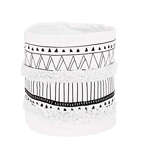 LIVEBOX Moroccan Fringe Storage Baskets or Bin,Bohemian Geometric Cotton Linen Plant Basket Hamper Boxes for Modern Home Decor Baby Nursery Laundry Kid's Room Indoor Planter Toy Organizer from LIVEBOX