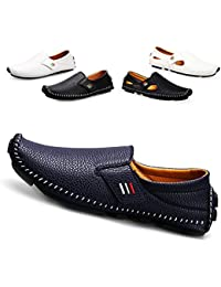 Men's Driving Shoes Penny Loafers Casual Leather Stitched Slip On Shoes