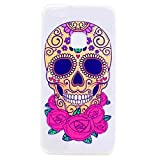 Huawei P10 Silicone Gel Case,JIEJIEWYD Crystal Clear Shock Proof Soft Durable Scratch Resistant TPU Protective Case Cover Skin Shell for Huawei P10 - skull rose flower