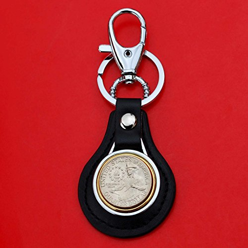US 1776 - 1976 Bicentennial Washington Quarter BU Uncirculated Coin Gold Silver Two Tone Leather Key Chain Ring NEW Drummer Boy