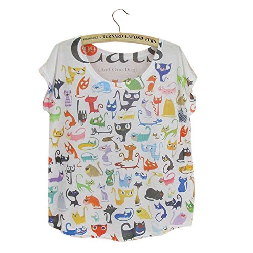 Fashion Summer Funny Cat Vintage T-shirt for Women Top Tees
